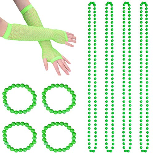 TENDYCOCO St. Patrick's Day Zubehör Set Perlen Halsketten Armbänder Fingerlose Netzhandschuhe Dress Up Set Irish Festival Party Kostüm Zubehör (Grün) (Saint Dress Up Kostüm)