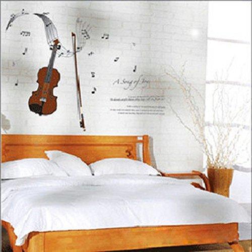 """Violine & Noten Wand-Aufkleber mit Wandtattoo Inspirierenden Zitaten von Walt Whitman """"A Song Of Joys"""" Gedicht Dekorative Abnehmbare Wandstickers DIY Vinyl Wandtattoos für Wohnzimmer, Schlafzimmer"""
