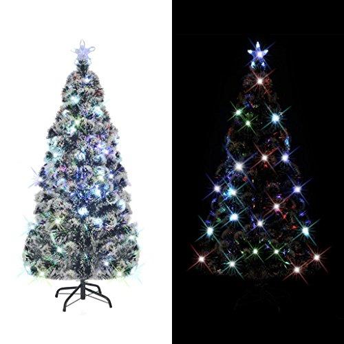 Festnight Künstlicher Weihnachtsbaum Tannenbaum Christbaum inkl. Stahl-Ständer + LED-Licht Dekorationsbaum Höhe 180cm mit 220 Zweige Grün
