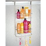 mDesign Duschablage zum Hängen über die Duschtür - praktisches Duschregal ohne Bohren - mit Saugnäpfen - Duschkorb zum Hängen aus Metall für sämtliches Duschzubehör - mattsilber Vergleich