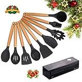 Utensilios de cocina de silicona, kit de cocina resistente al calor, Mreechan antiadherente/fácil de limpiar/bisfenol A aplicable a ollas y sartenes (9 piezas)