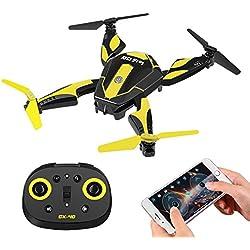 OFUN CX-40 RC Drones con Transmisor, 2.4GHz 6-Axis 720P HD Cámara Selfie Drone Plegable, Wifi Transmisión en Tiempo Real, 0.3MP Modo sin Cabeza, APP Control Remoto, Un Inicio Clave 3D Rollos de Volteo Forma de Rana (Batería Incluida)