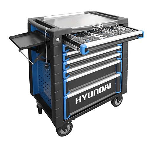 HYUNDAI Werkstattwagen SET 59002 (291-teilig, hochwertiger Werkzeugwagen, 7 Schubladen mit Einlagen, Montagewagen, 6 bestückte Schubladen, gefüllt mit Profiwerkzeug, zentral abschliessbar)