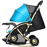Bicicletas DUO Carro de bebé multifuncional Cochecito de bebé Carro de mecedora Puede sentarse y reclinarse Suspensión bidireccional (Color : Azul)