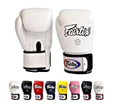 Fairtex Muay Thai Boxing Gloves BGV1 Color: Black Blue Red Yellow White Size : 10 12 14 16 oz. Training Sparring Gloves for Kick boxing MMA K1 (White, 12 oz)