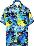 LA LEELA Shirt Camicia Hawaiana Uomo XS - 5XL Manica Corta Hawaii Tasca-Frontale Stampa Hawaiano Casuale Regular Fit Blu538 XL