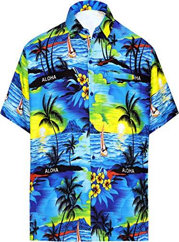 La leela shirt camicia hawaiana uomo xs - 5xl manica corta hawaii tasca-frontale stampa hawaiano casuale regular fit blu538 l