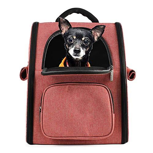WLDOCA Rucksack für Hunde Katze Soft-Sided Mesh Pup Pack für den Transport von Doppel-Schultertaschen im Freien,Pink