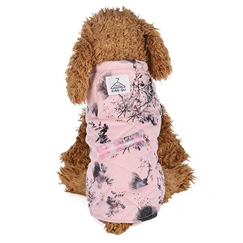 (Amphia - Haustier Baumwollanzug mit Mütze, Hundehaustierkleidung Hoodie Warmer Fleece-Welpen-Mantel-Kleid-Welpen-Jacke(Rosa,XS))