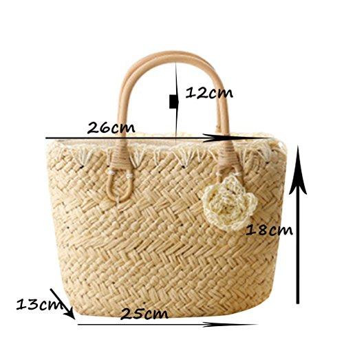 YOUJIA Damen Blumen Puppy Strandtaschen Tote Handtaschen Stroh Damentaschen #1 Braun
