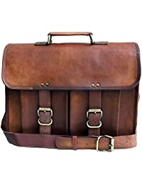 Anshika International Original Leather Laptop Office Messenger Bags For Men / Women - Brown - 15 Inch Length,11... - B078MDJRLP