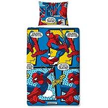 Mercury Funda Nórdica + Almohada con Diseño Spiderman, Mezcla De Algodón, Azul, 12x22x35 cm, 2 Unidades
