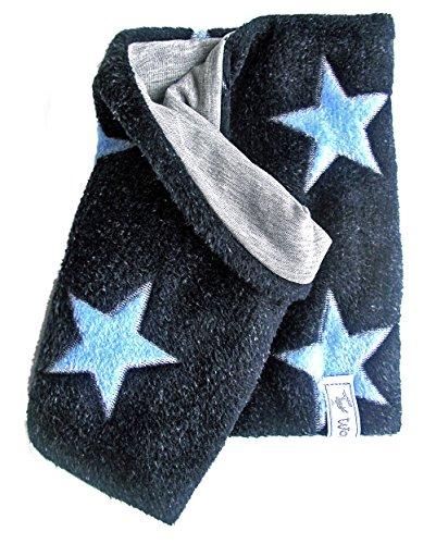 WOLLHUHN Warmes Halstuch, Schal mit Sternen in dunkelblau mit hellblauen Sternen für Jungen und Mädchen, Wellnessfleece, 20150105