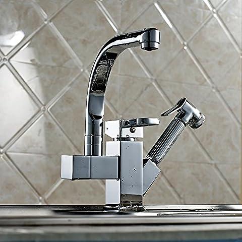 Multifunzione rame telescopico girevole a 360gradi rubinetto doppio water-hole Lavatory rubinetto cucina moderna Mix Acqua (American Standard Lavatory Sink)