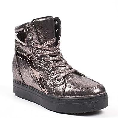 Ideal Shoes Sneaker perlati con suola in gomma Acelia, Nero (nero), 38