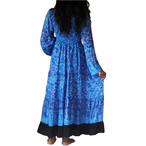 LOTUSTRADERS Damen Batik Kleid Aqua