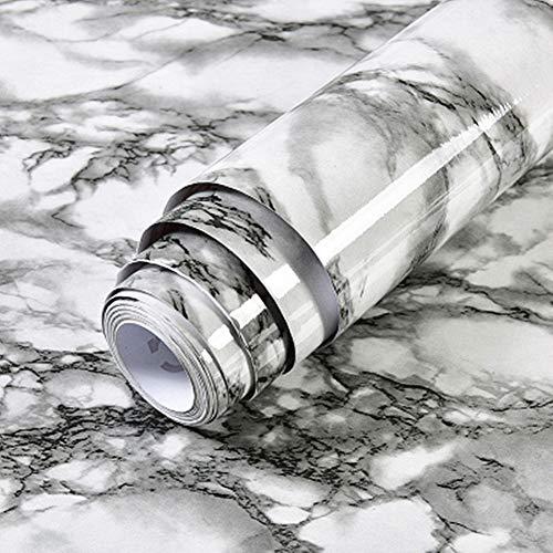emoyi Granit Look Marmor Glänzende Folie Vinyl selbstklebend Counter Top Abziehen und Aufkleben Wand Aufkleber 30,5x 200,7cm, plastik, schwarz, 12''x79'' - Schwarze Granit-küche Top