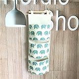 Fieans Sac de Rangement Suspendu Panier Pochette de Rangement Sac Organisateur Mural en Tissu lin et Coton-vert Éléphant