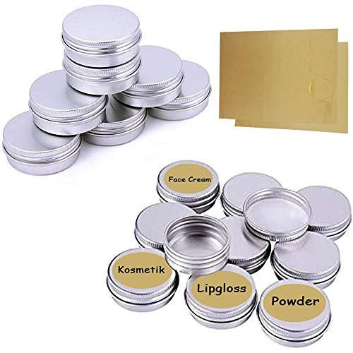 Ealicere 20 Pcs 15 ml, tarros vacíos de Aluminio Plateado, Recipiente de cosmética para muestras de bálsamos labiales o cosméticos, Cierre de Rosca