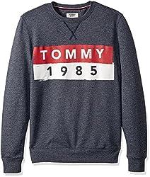 Tommy Hilfiger Tommy Jeans by Mens Sweatshirt Crewneck Pullover, Black Iris, Large