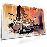CanvasArts Urban Decay - Leinwand Bild auf Keilrahmen Wandbild VW Bulli Auto 04.1001 (80 x 60 cm, einteilig)