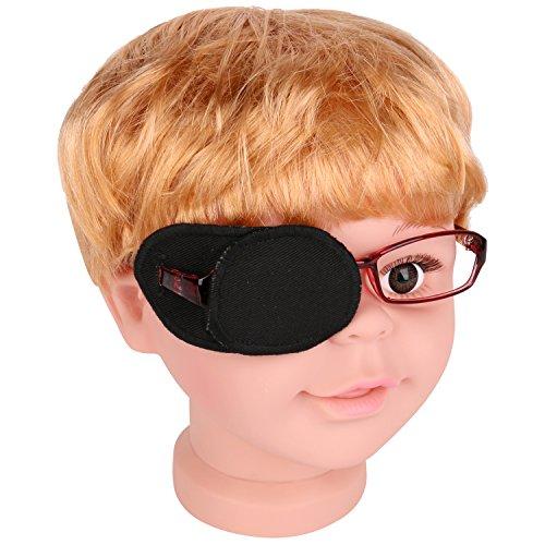 Rumcent Parche de Ojo de Ambliopía de Algodón Puro Para Gafas, Ambliopía y Strabismus, Parche de Ojo Para Niños, Tamaño Normal, Color Negro