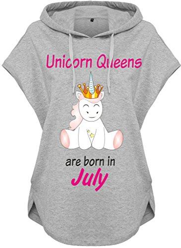 Kawaii Felpa con cappuccio Felpa con Cappuccio Ladies Donna felpa con cappuccio Unicorno Queens are born Grigio Luglio