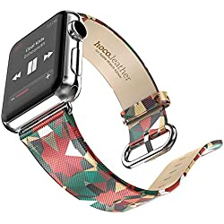 Watch Ban - HOCO Leather Strap Classic Buckle Watch Band Adapter For Apple Watch 38MM Red
