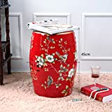 Shoe stool LUYIASI- Pintado a Mano Flores y Pájaros Taburetes Chinos Taburete de cerámica de cerámica Banquetas Banqueta Redonda (32x45cm) (Color : Rojo)