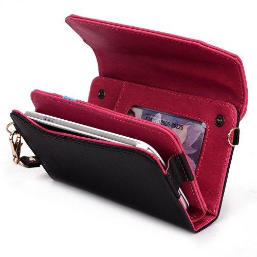Kroo Lien de série universel femmes portefeuille Wristlet sac bandoulière compatible avec de nombreux 4à 12,7cm Étui pour Apple iPhone/Asus/Acer/Amazon/Téléphone portable Alcatel Multicolore - rose Multicolore - Black and Magenta