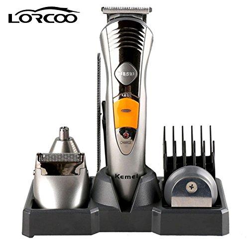 Lorcoo 7 in 1 Rasoio & Rifinitore Multifunzione per Viso, Barba e Corpo, Multigroomer Kit per Uomo