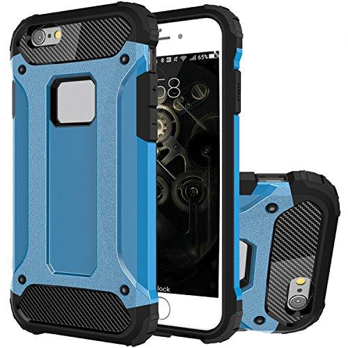 """iPhone 6S Hülle, HICASER Hybrid Dual Layer Rugged Heavy Duty Defender Case [Shock Proof] Drop Resistance TPU +PC Handytasche Schutzhülle für Apple iPhone 6 / 6S 4.7"""" Braun Blau"""