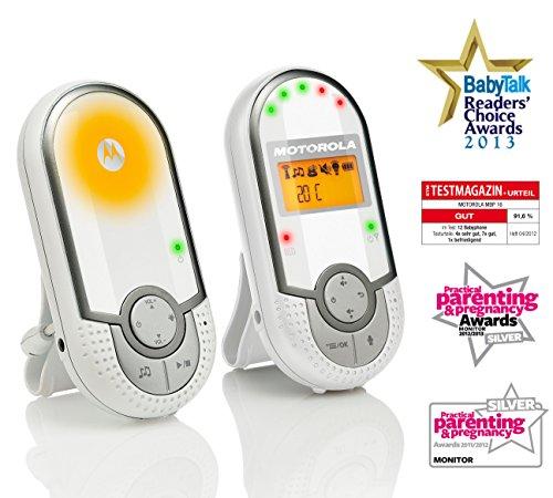 Motorola MBP 16 - Digitales Audio Babyphone mit 1.5 Zoll Display, DECT-Technologie und bis zu 300 Meter Reichweite, weiß -