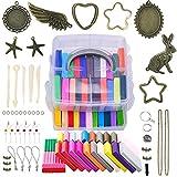 JUZNOY Polymer Ton, Knete Set 24 Farben Clay, Polymer Clay Set mit 5Pcs Werkzeuge, 4pcs Schlüsselbund, Schmuckzubehör, Geburtstagsgeschenk Kinder