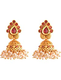 Ganapathy Gems 1Gram Gold Plated Jhumki With Pearl Drops (8576) 8576