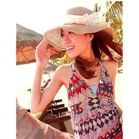 HJL- Moda Lace Bowknot Beach Cappello donna ,