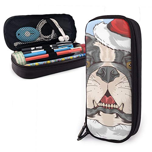 Bulldogge Pit Bull Dog Weihnachtsmann Federmäppchen bleistiftbeutel make-up tasche veranstalter stiftbeutel halter box stifthalter - Pit Spielzeug Bull