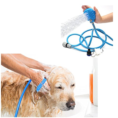 Yovvin Pet Shower Massage Sprayer with Brush – Dog Bathing Tool Cleaning Gloves Washer Dogs Hair Remover Grooming with 8.2 Foot Hose and 2 Hose Adapters, Indoor/Outdoor Use Bath