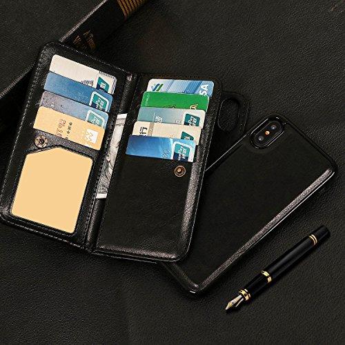 xhorizon MLK étui en Cuir de Haute Qualité Portefeuille Porte-monnaie Magnétique Amovible Détachable Séparable Sac à Main Souple Compartiments Couvercle pour Cartes Multiples pour iPhone X / iPhone 10 Noir