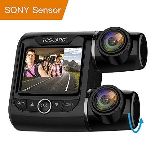 Caméra de Voiture - TOGUARD Full HD Double 1080p Dash Cam Vue Avant et Arrière Dashcam 340 ° à l'extérieur et à l'intérieur Double Caméra Enregistreur de Voiture avec Moniteur de Stationnement, Détection de Mouvement pour Uber, Taxi