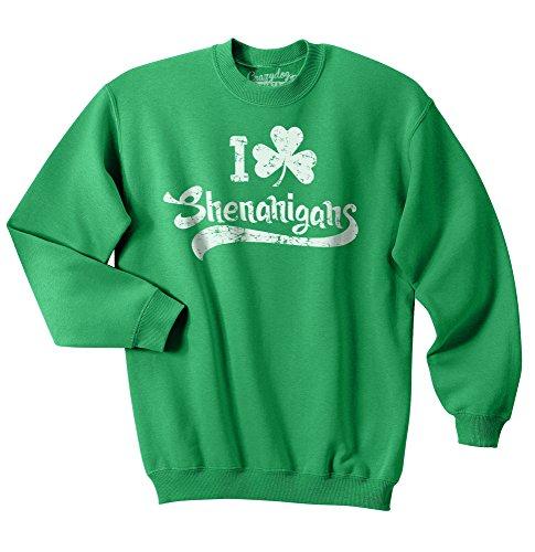 St Pattys Tag-t-shirts (Crazy Dog Tshirts - I Clover Shenanigans Funny St. Patrick's Day Clover Unisex Crew Neck Sweatshirt (Green) - L - Herren - L)