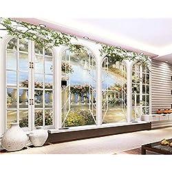 GBHL Arcos de estilo europeo ventana clásica pintura al óleo paisaje foto de la pared mural papel tapiz 3d, 400x280 cm (157.5 por 110.2 in)