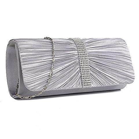 Womens Satin Pleated Diamante Clutch Bag Bow Wedding Bridal Prom Party Handbag Ladies Clutch Bags (Silver)