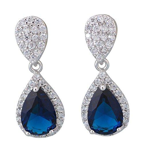 Orecchini pendenti Argento Scuro Zaffiro Blu Topazio Bianco Orecchini Da Donna Fashion Jewelry E485