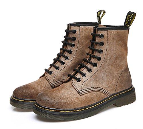 Honeystore Damen Stiefeletten Profilsohle | Worker Boots Leder-Optik | Schnürstiefeletten Braun 38 EU -