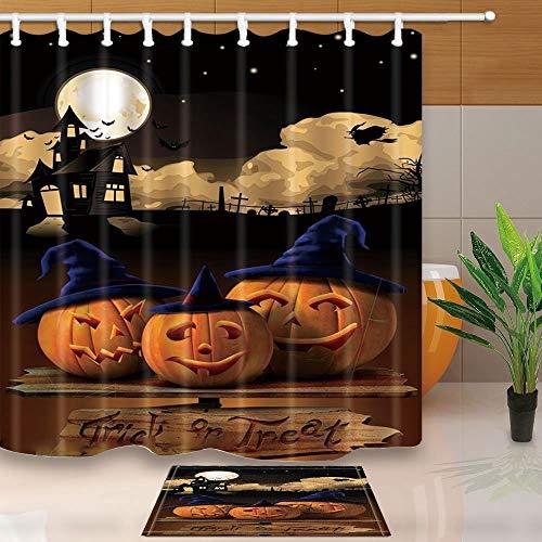 t Decor K¨¹rbis mit Cosplay Hat auf Holz Wort f¨¹r Halloween 180x180cm Stoff Vorhang f¨¹r die Dusche Anzug mit 39,9x59,9cm Flanell rutschfeste Boden Fu?matte Bad Teppiche ()