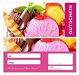 100 Stück Premium First Class Geschenkgutscheine (Eis-681) - Ein schönes Produkt für Ihre Kunden Gutscheine Gutscheinkarten für Bereiche wie Einzelhandel, Restaurant, Eiscafe, Eisdiele, Schokolade, Gastronomie und vieles mehr