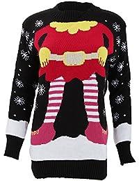 Pull tricoté à motif elfe de Noël - Femme