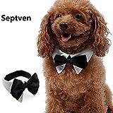 Septven Gute Qualität Gentleman Aussehen Haustier Fliege Kragen Haustier Schal Handtuch Krawatte (L, Weiß)