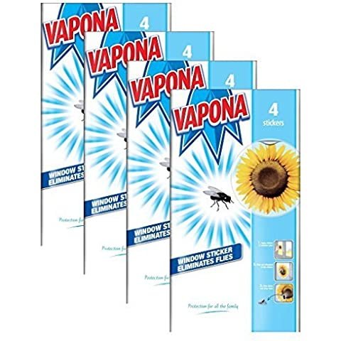 16 x Vapona Window Stickers Sunflower Insect Flies Wasp Pest Attractor & Eliminator Killer (4 Packs) by Vapona